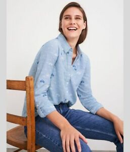 White Stuff Womens Cecily Bicycle Organic Cotton Shirt Top Blouse RRP£49 8 10 12