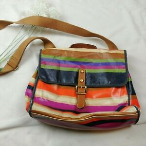 T13 FOSSIL Striped Coated Textile Messenger Handle Shoulder Crossbody Bag