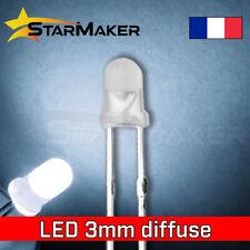 LED 3mm diffusant Blanc froid - 10 à 100 pcs - LED Diffused Cold white fog