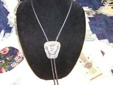 Feather Floral, Oxidized Black Bolo Lg. Silver, Pewter? Native American Eagle,