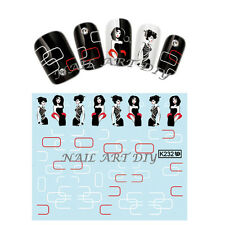 20 stickers water transfer unghie adesivi TATTOO DONNA ELEGANTE black e white!!!