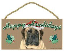 "Happy Howlidays English Mastiff Christmas Dog Sign New 5""x10"" Wood Plaque 742"
