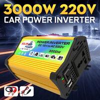 3000W Power Inverter Converter Convertitore DC 12V to AC 220V USB Caricabatterie