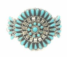 Navajo Handmade Turquoise Cluster Sterling Silver Cuff Bracelet - Mathilda.B