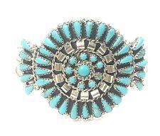 Navajo Handmade Turquoise Cluster Sterling Silver Cuff Bracelet - Mathilda.B