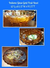 Indiana Harvest Grape Carnival Glass Fruit Candy Bowl Iridescent Amber Gold