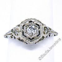 FINEST Antique Art Deco 18K White Gold European Cut Diamond Filigree Floral Ring