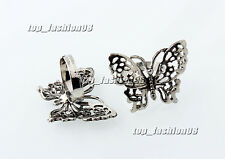 Wholesale Lots 10Pcs Jewelry Outsize Cut Butterfly Silver plated Animal Rings