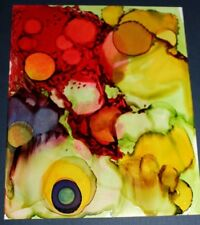 """Fruit Basket"" -Alcohol Ink Painting  5""X7"" - 8""X10"" Pro Beveled Mat"
