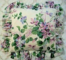 Vtg Violets Decorative Ruffle Edge Pillow 12 in Sq. Overall 18in Sq. Pretty