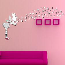 Modern DIY 3D Acrylic Mirror Decal Fairy Lady Stars Wall Stickers Art Home Decor