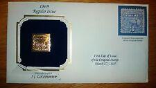"Postal Commemorative Society 22k Gold First Day ""3 cent's LOCOMOTIVE"""