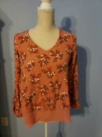 Lauren Conrad Womens Floral Long Sleeve Blouse Size Small