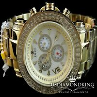 1 CTW GENUINE DIAMOND 2 ROW TECHNO GRILL DON STAINLESS STEEL WATCH GOLD FINISH