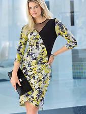 Ensemble Plus Sz 22 Mesh détail jaune robe imprimée flatteuse Soirée £ 79