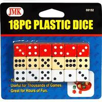 18 Piece Vegas Casino Plastic Dice Set - 3 Colors