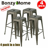 Set of 4 30 inch Metal Barstools Stackable Cafe Bar Counter Height Stool Chairs