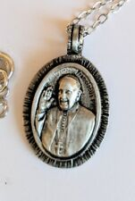 """Pope Francis Pewter Catholic Charm Pendant Necklace w 20"""" Silver Rope Chain"""