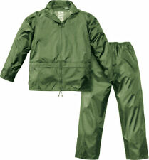 Completo impermeabile giacca pantalone nylon pioggia antipioggia verde L 354090