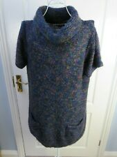 JOE BROWNS Blue Marl Tunic Jumper Dress Size 16 18 Knitted Knit Pockets Casual