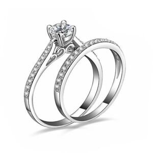 925 Sterling Silver plated Diamond Couple Rings Crystal Engagement Gift Set