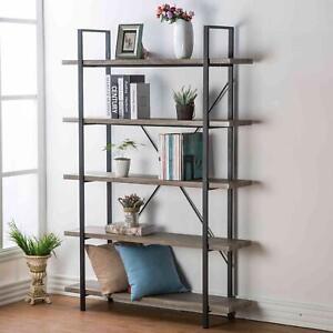 Grey Oak Rustic Bookcase Bookshelf Vintage Industrial Metal Display Tower Shelf
