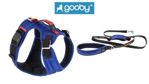 GOOBY Pioneer Dog Harness Small Breed S M L XL or Matching Traffic Leash Blue