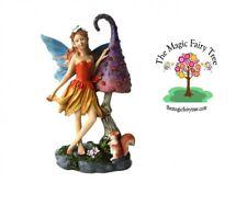 Large 25cm elf fairy on mushroom with squirrel fairies enchanted garden decor