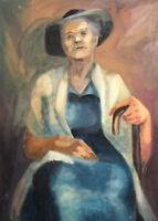VINTAGE GOUACHE PAINTING OLD FEMALE PORTRAIT