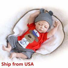 "22"" Reborn Baby Full Body Silicone Vinyl Sleeping Doll Soft Lifelike Newborn-USA"