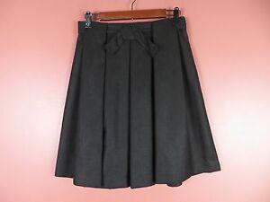 SK10416- TALBOTS Woman 100% Polyester Pleated Skirt Bow Decor Off Black Sz 8P