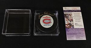 JEAN BELIVEAU SIGNED MONTREAL CANADIENS OFFICIAL GAME PUCK UDA JSA AUTHENTICATED