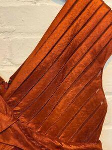 Adrianna Papell, Dark Red, mesh panel and ruffle dress, Size UK-14 GA-1939