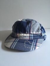 The Childrens Place Girls Hat Blue Plaid Baseball Cap Rhinestone Heart Size 4-6