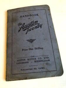 Austin Twenty 20 Handbook Manual Owners Guide Publication No.1378A January 1937