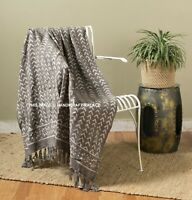 Grey Hand Loomed Throws Block Printing Shawls Wraps Cotton Sofa Throw Blanket