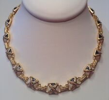 Vintage Signed MONET Jewelry Necklace White, Navy & 22k Gold Plated. Nautical