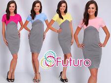 Womens Formal Pencil Dress Crew Neck Short Sleeve Bodycon Size 8 - 14 FA408