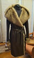 L-XL 100% real shearling Fiomio  jacket women with hood leather sheepskin beige