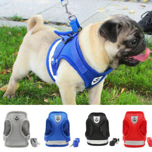 UK Adjustable Dog Puppy Pug Harness Cat Pet Soft Mesh Lead Leash Reflective Vest