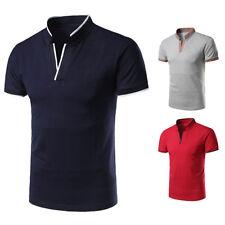Men's Stand Collar Casual Shirt Short Sleeve Slim Fit T-shirt Tee Dress Tops