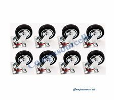 "8 pc swivel caster wheels 3"" rubber base with top plate & bearing heavy duty"