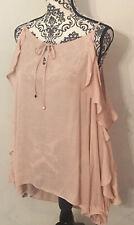 Jennifer Lopez Spring Romance Pink Size XL Top Cold Shoulder Flowy Sexy Keyhole