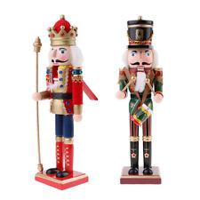 2 pezzi 30cm Schiaccianoci Natale Figure Soldato Legno Puppet Per Bambini