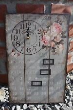 Wanduhr + Datum rosa Rosen Küchenuhr Clayre&Eef eckig Chalet Landhaus