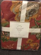 Pottery Barn Vanessa Floral Bedskirt Full 14 Inch Red Holiday New