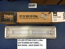 Defender 2ft 110v & 240v LED FITTING c/w 2 x T8 10w 6500K LED TUBES-CLEARNACE