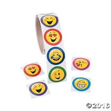 Roll of 100 Emoji Emotion Face Stickers Kids Crafts Birthday Party Favors Decals
