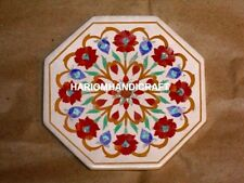 12'' Marble Coffee Table Top Carnelian Floral Inlaid Creative Office Decor M233