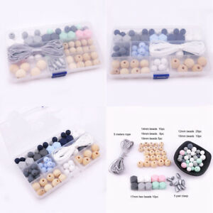 Silicone Hexagon Beads Baby Teether Wooden Beads Kit DIY Teething Necklace Make